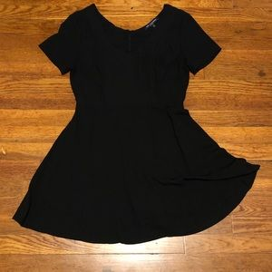 Black Fit and Flare V-neck Dress
